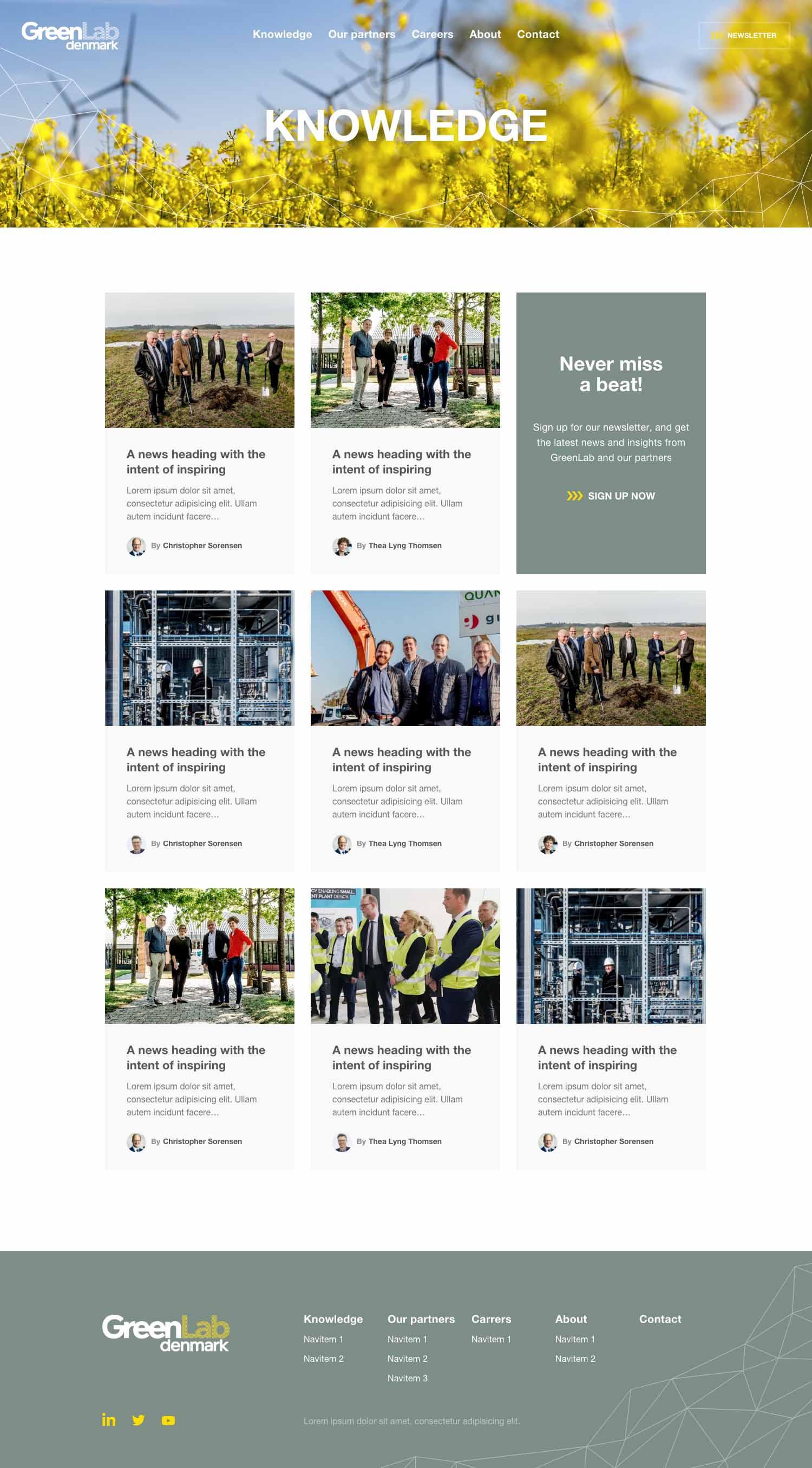 Billede der viser design på nyhedssiden på GreenLabs nye hjemmeside