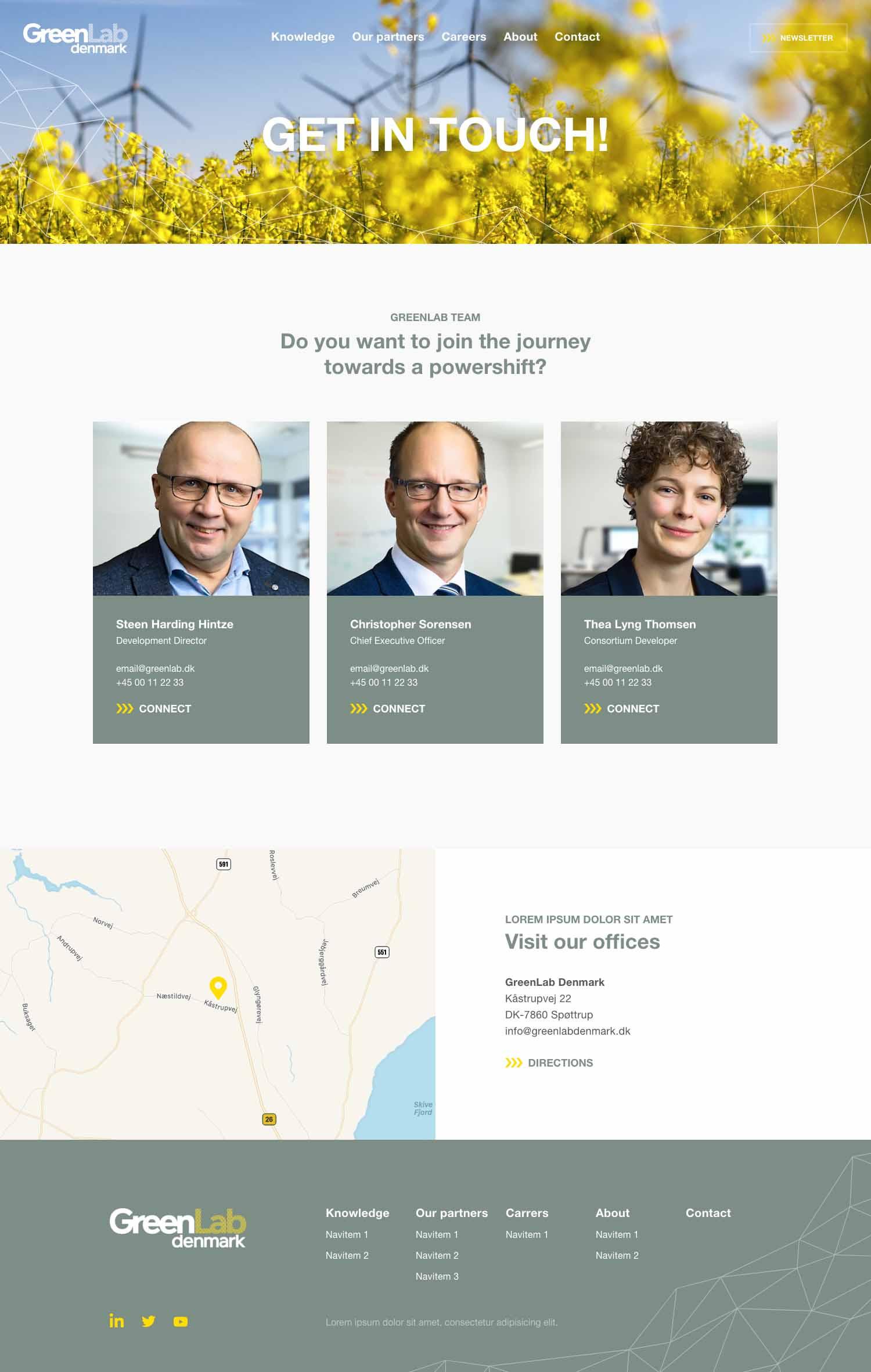 Billede der viser design på kontaktsiden på GreenLabs nye hjemmeside