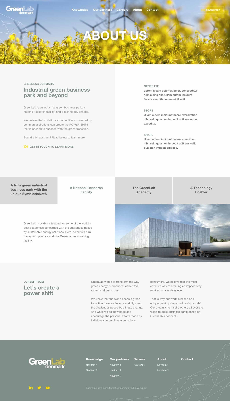 Billede der viser design på en underside på GreenLabs nye hjemmeside