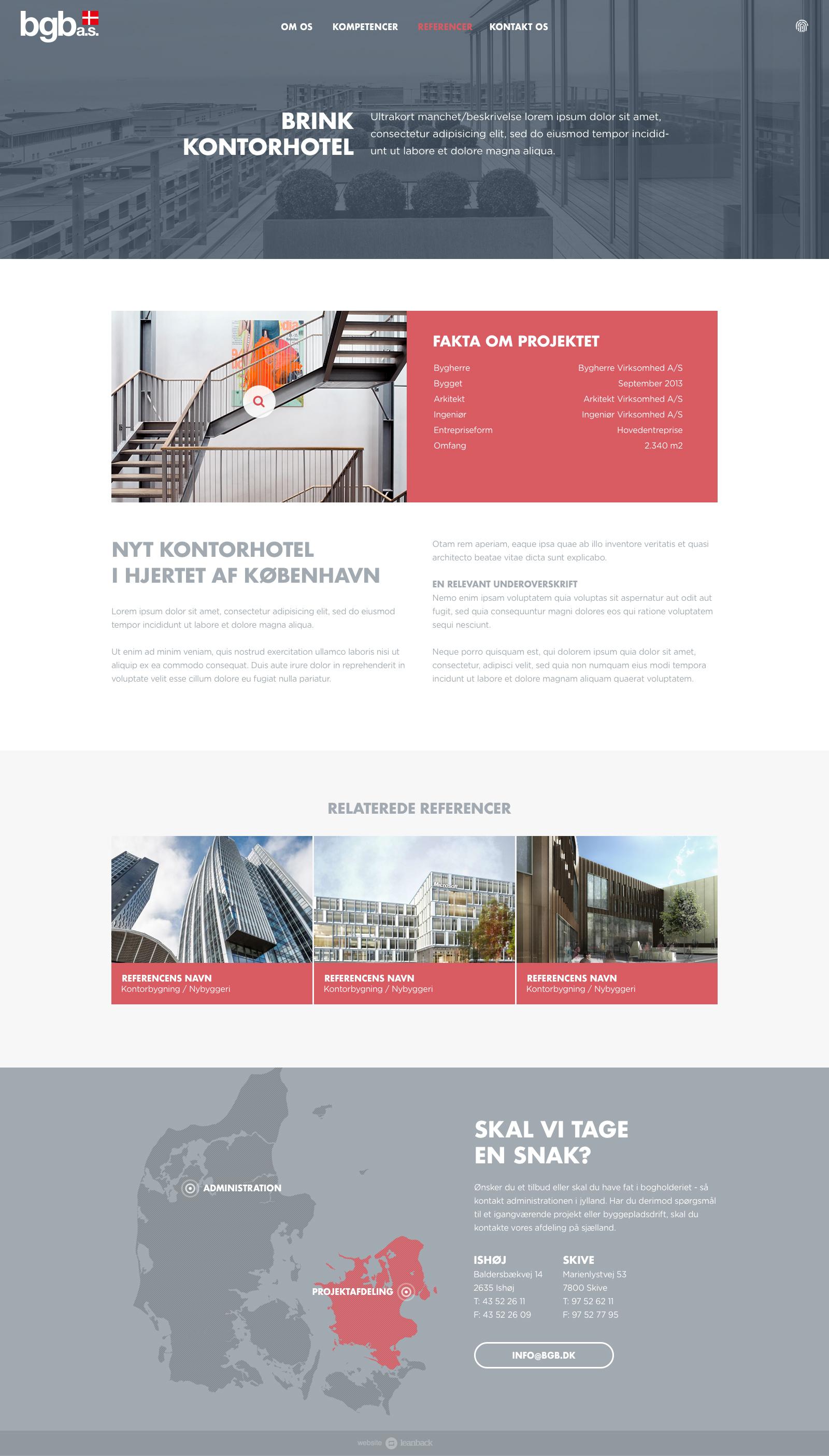 Billede der viser design på en referenceside på BGB's nye hjemmeside