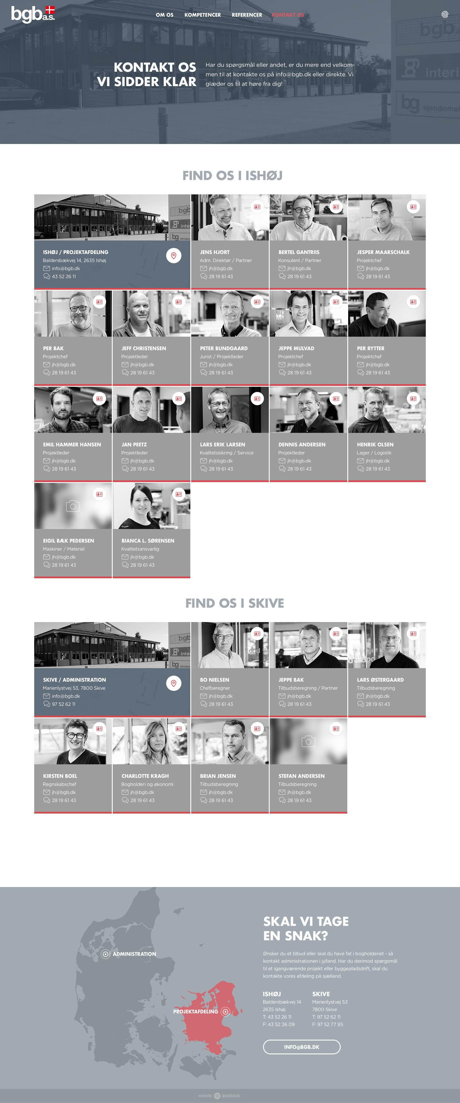 Billede der viser design på kontaktsiden på BGB's nye hjemmeside