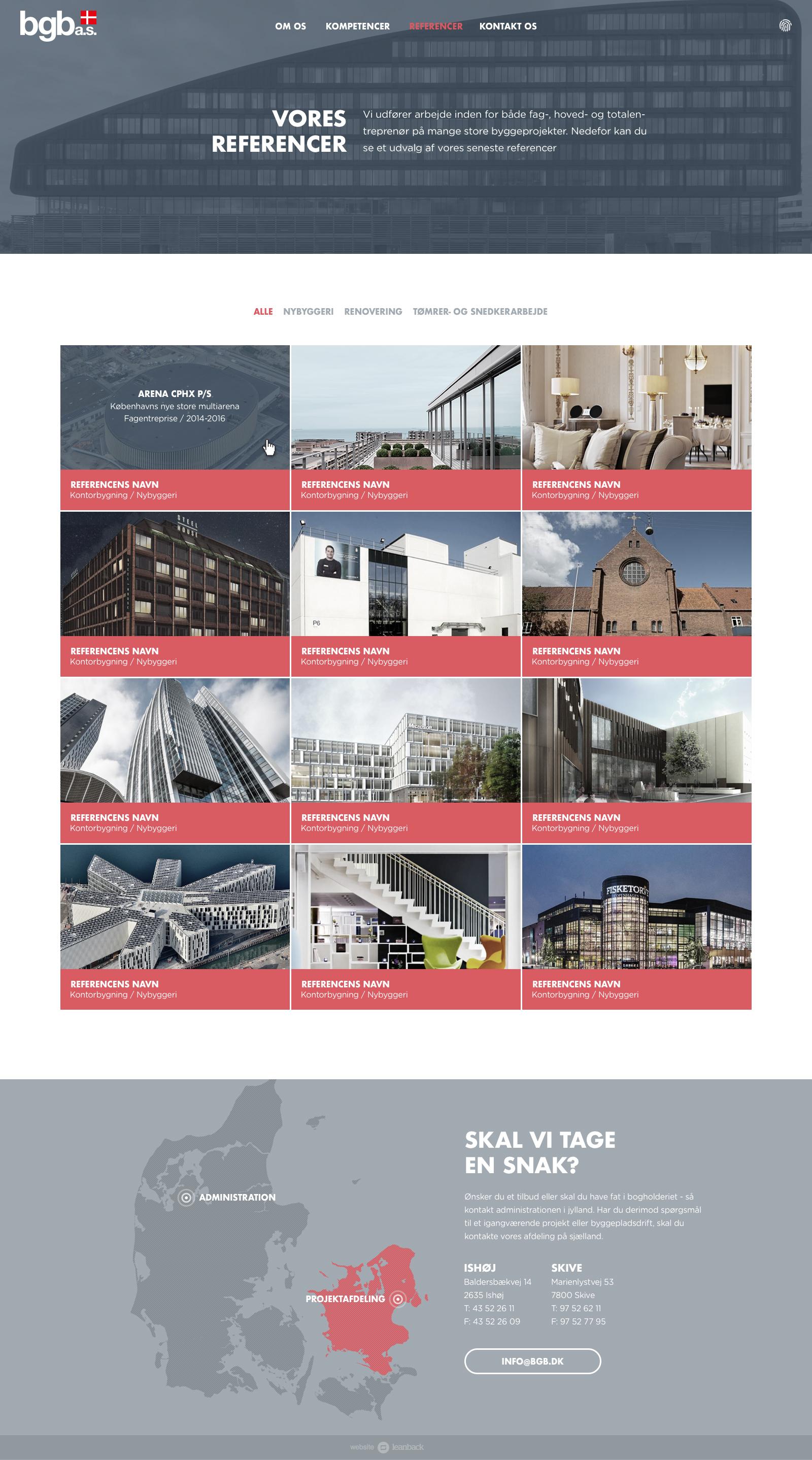 Billede der viser design på referenceoversigten på BGB's nye hjemmeside