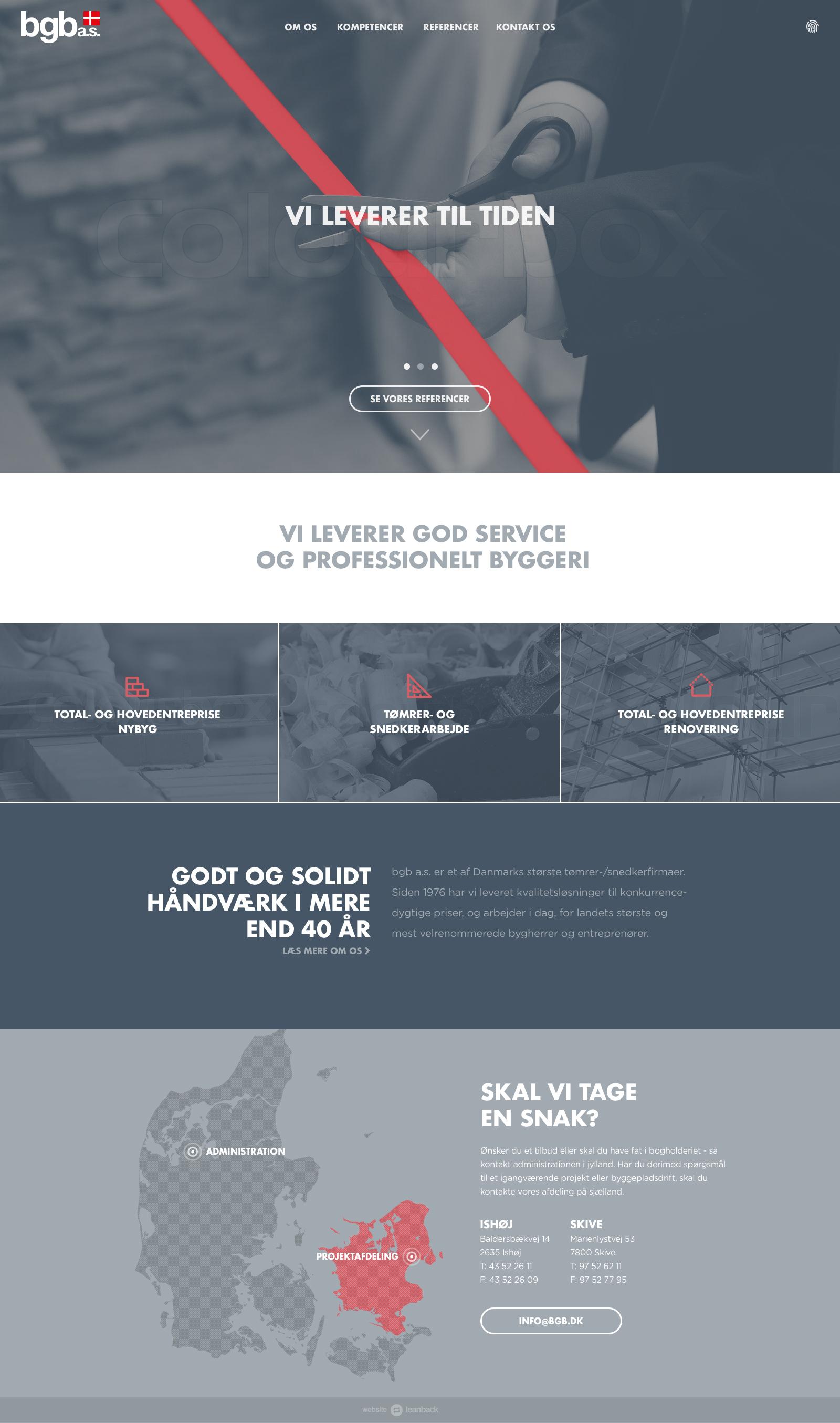 Billede der viser design på forsiden af BGB's nye hjemmeside