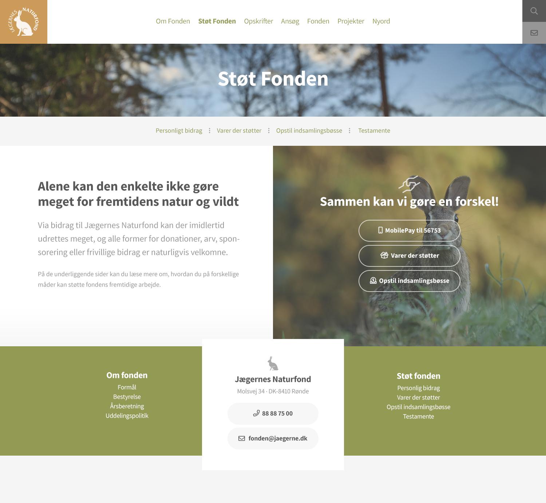 Billede der viser design på en underside af Danmarks Naturfonds nye hjemmeside