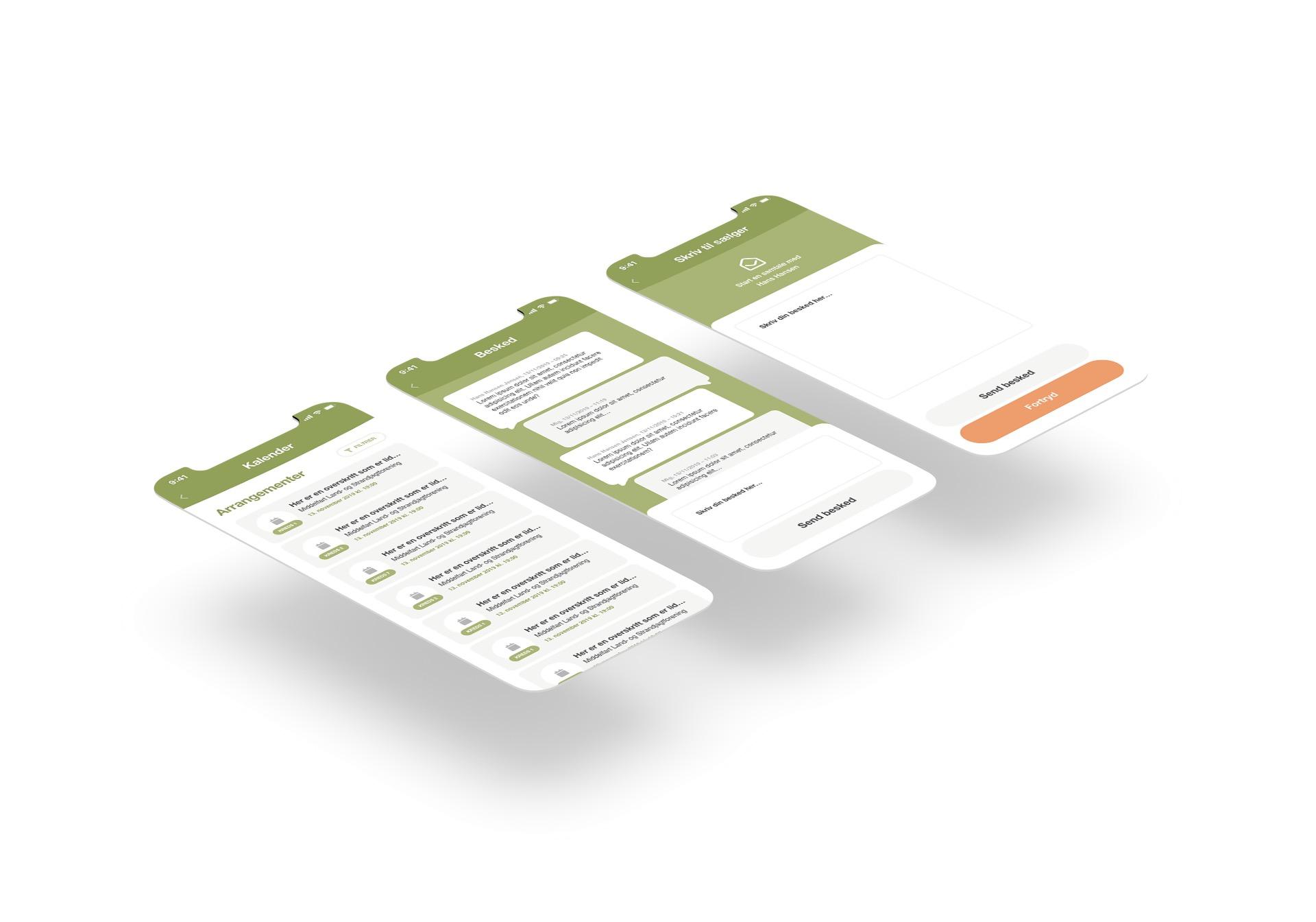 Billede der viser forskellige designs til Danmarks Jægerforbunds nye app