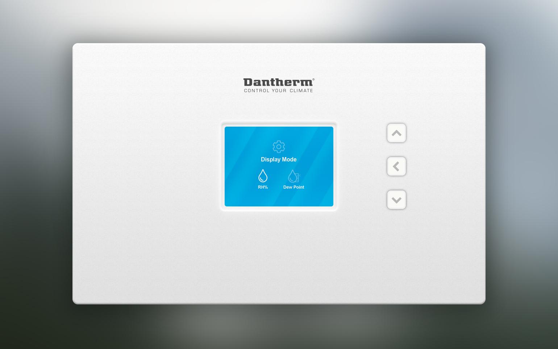 Billede der viser UI design til hjemmeskærm på Dantherm Coolings CC6 controller