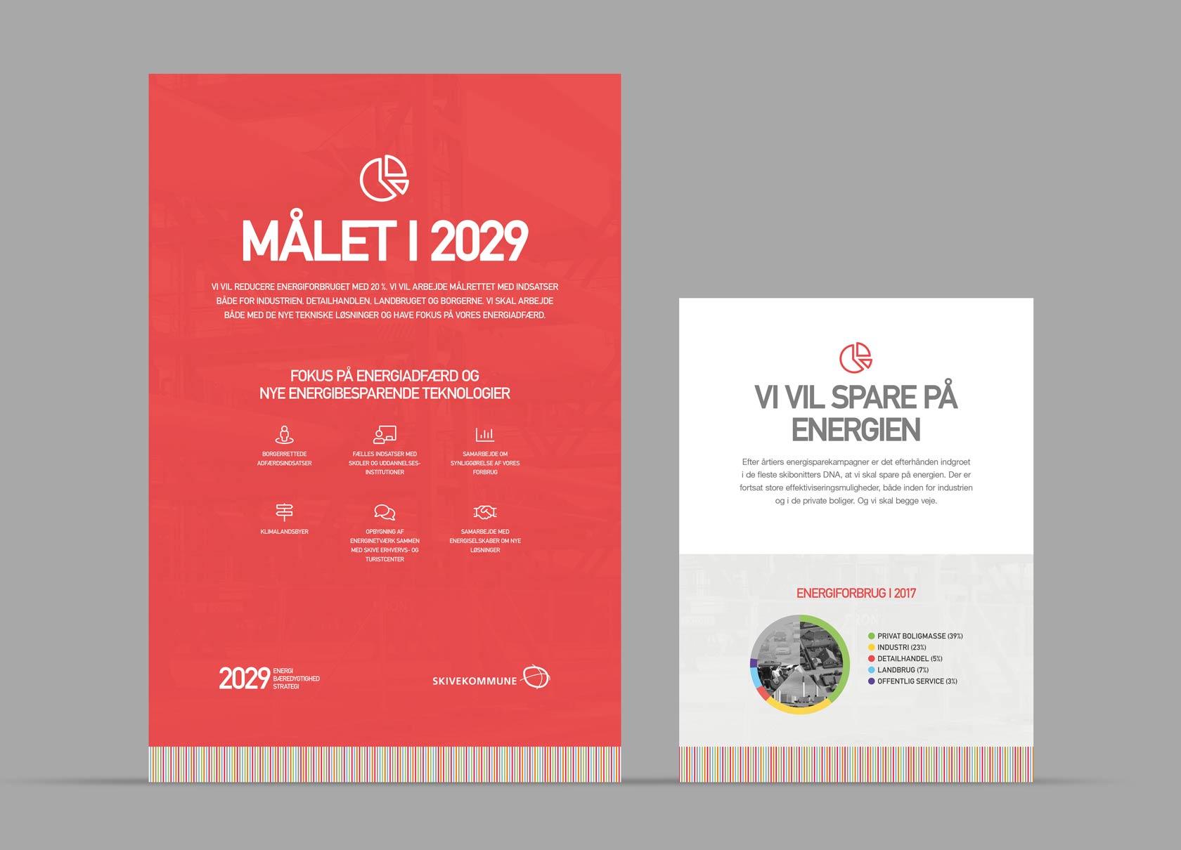 Billede der viser design og illustrationer på roll-ups til Skive Kommunes energistrategi 2022