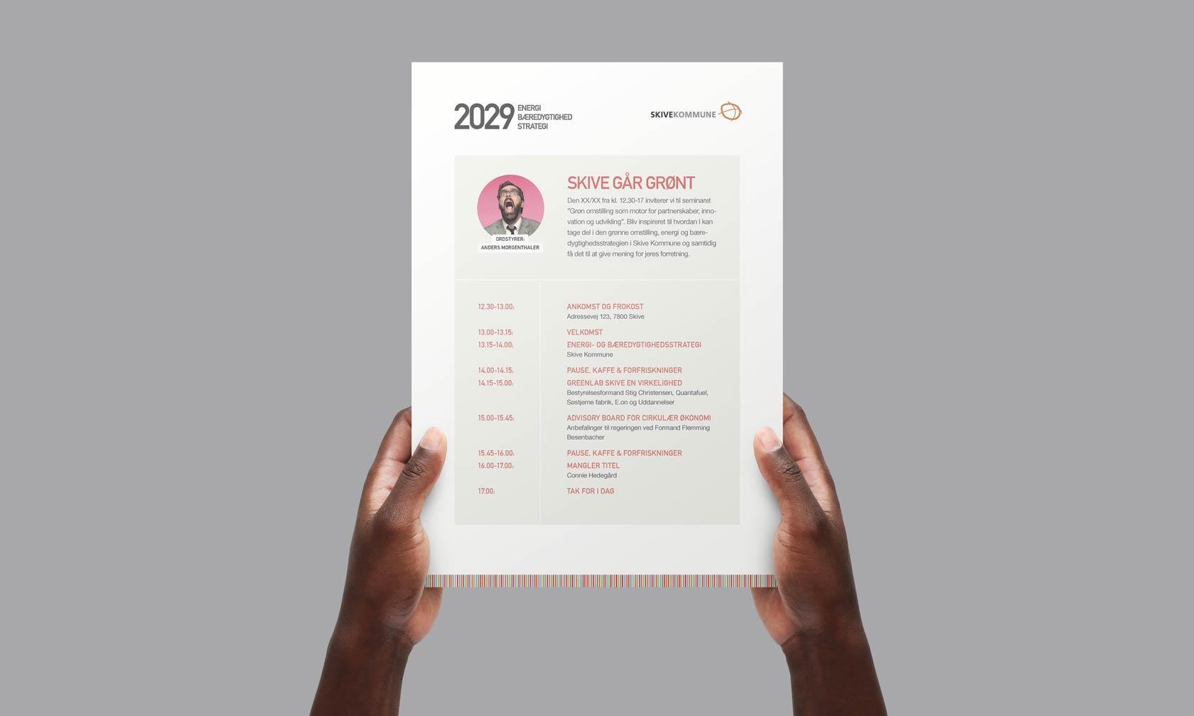 Billede der viser design A4 invitation til Skive Kommunes energistrategi 2022