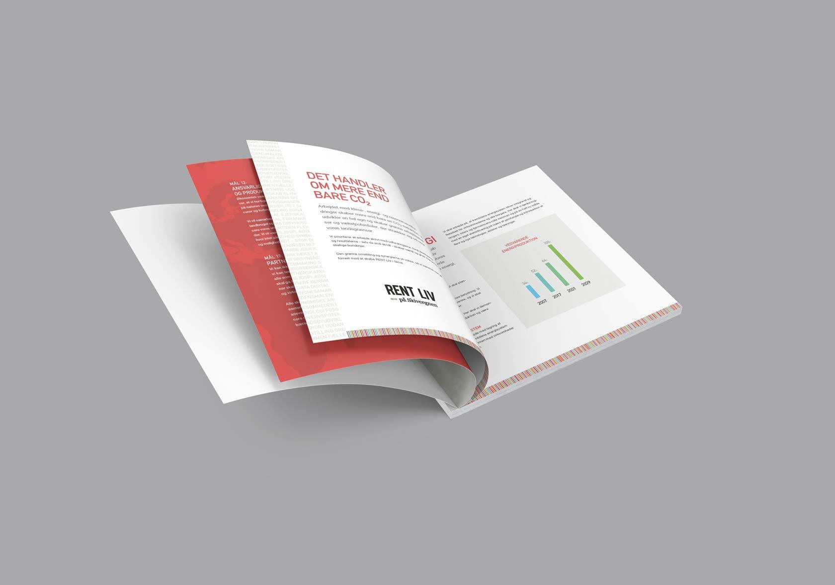 Billede der viser design og illustrationer på de indvendige sider i brochure til Skive Kommunes energistrategi 2022