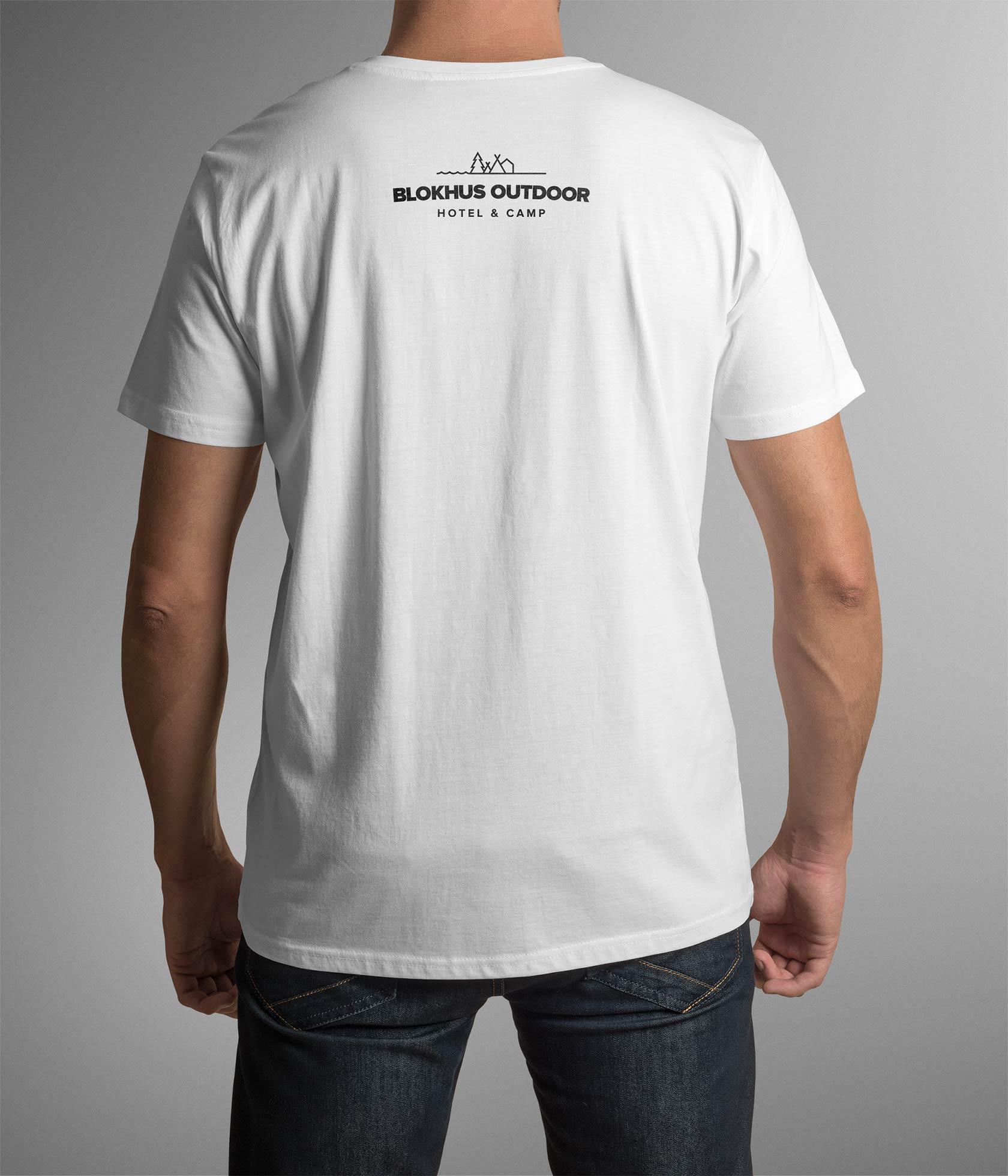 Billeder der viser t-shirt design med Blokhus Outdoors logo