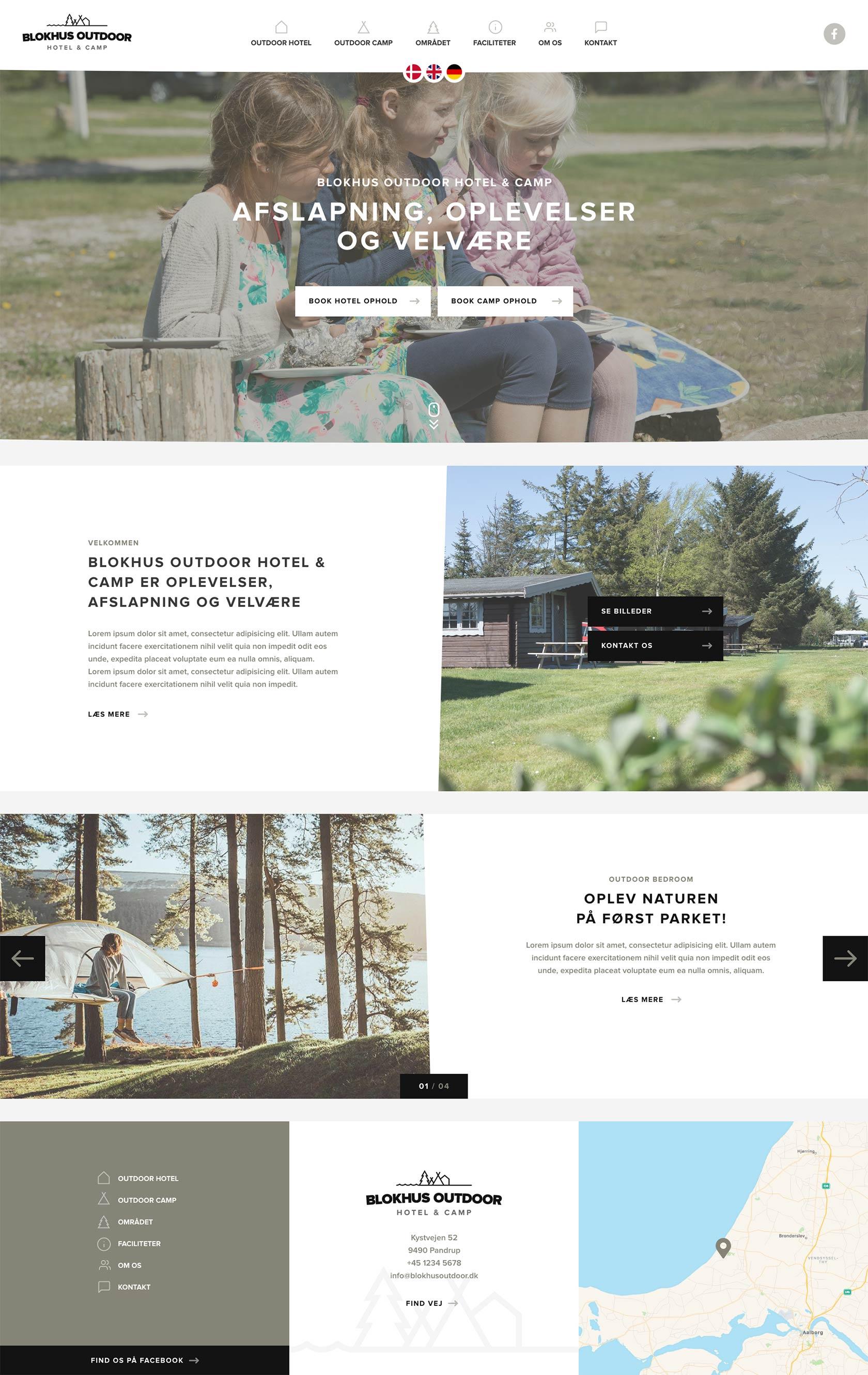 Billede der viser design på forsiden af Blokhus Outdoors hjemmeside