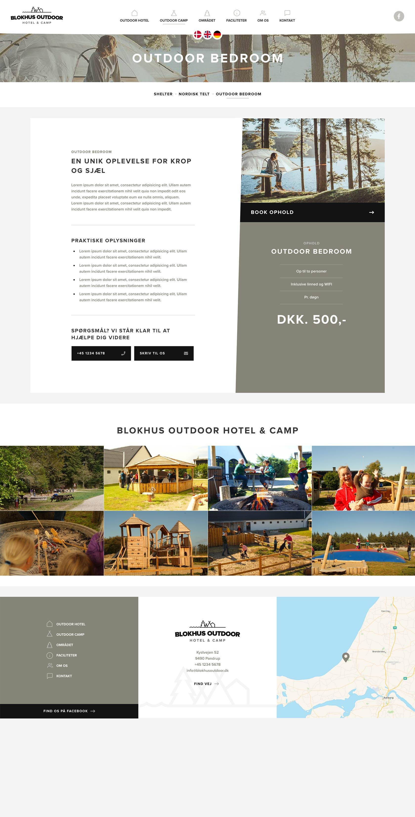 Billede der viser design på opholdsside på Blokhus Outdoors hjemmeside