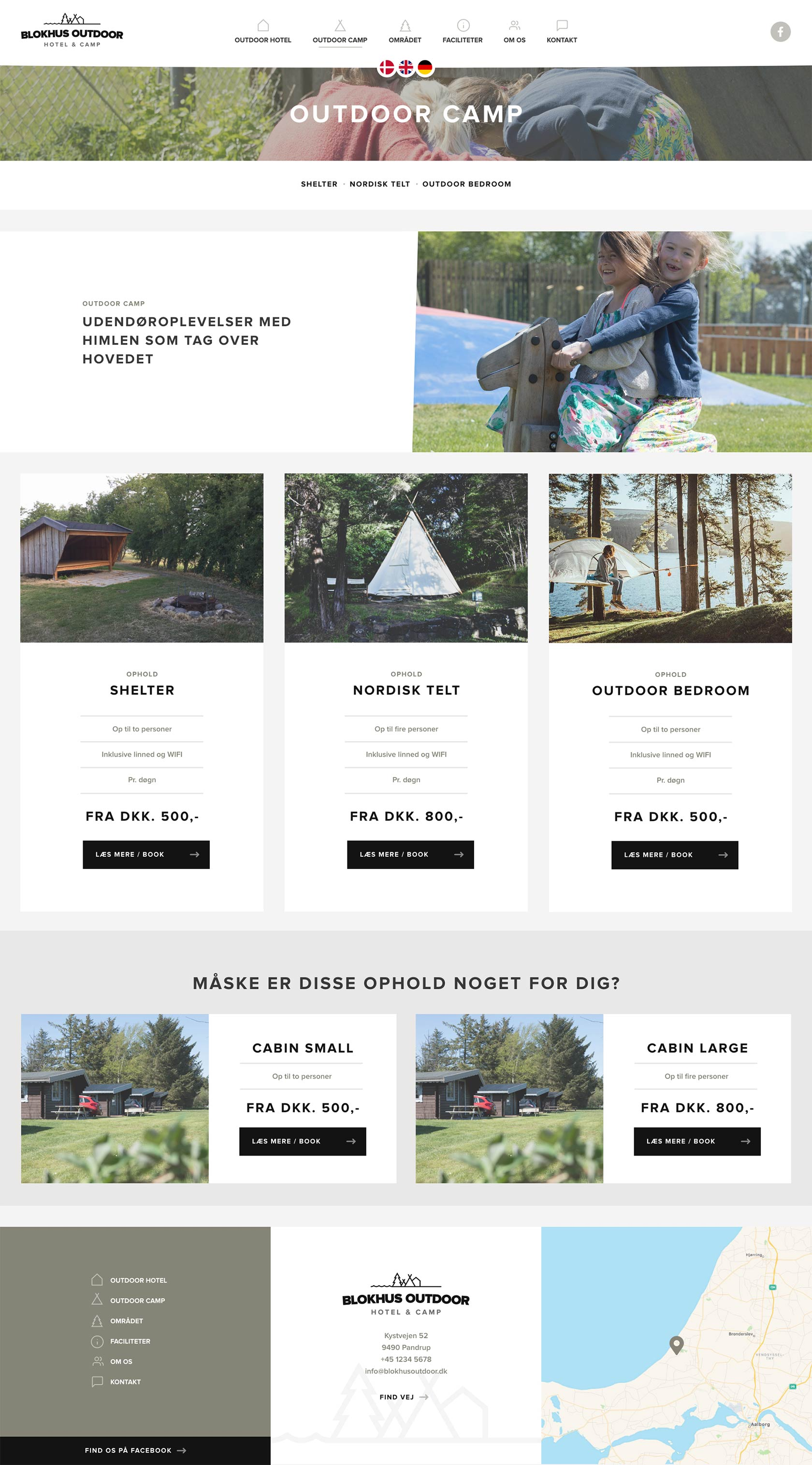 Billede der viser design på bookingside på Blokhus Outdoors hjemmeside