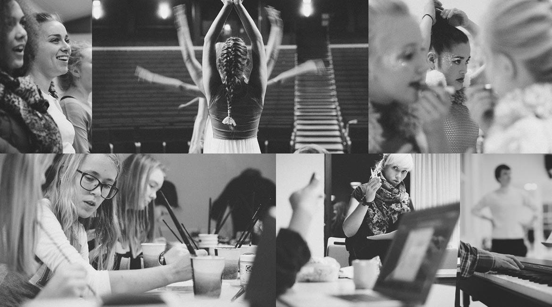Billedekollage af elever på Dansk Talentakademis forskellige uddannelsesretninger