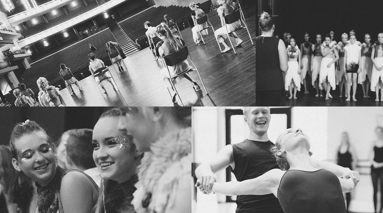 Billedekollage af elever på Dansk Talentakademis danselinje