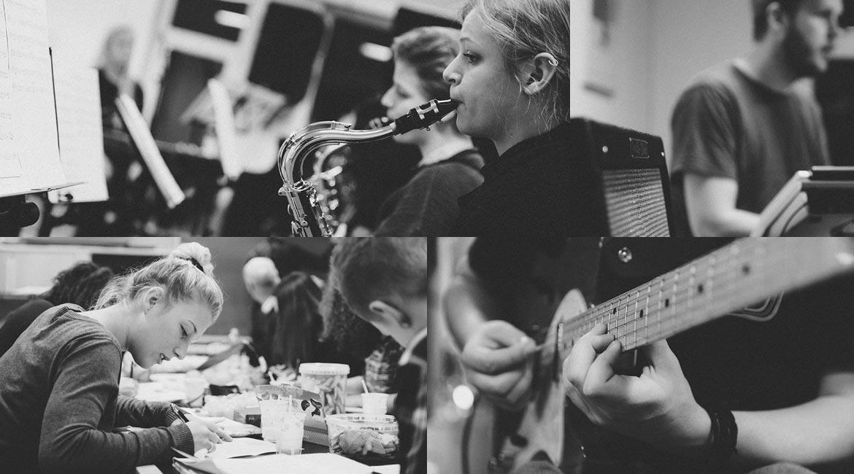 Billedekollage af elever på Dansk Talentakademis musiklinje