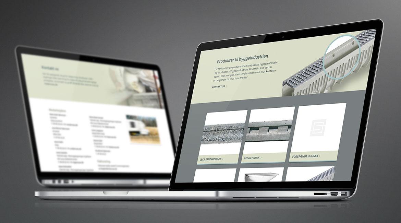 Billede der viser design af forskellige sider på Niss Sørensen & Søns hjemmeside