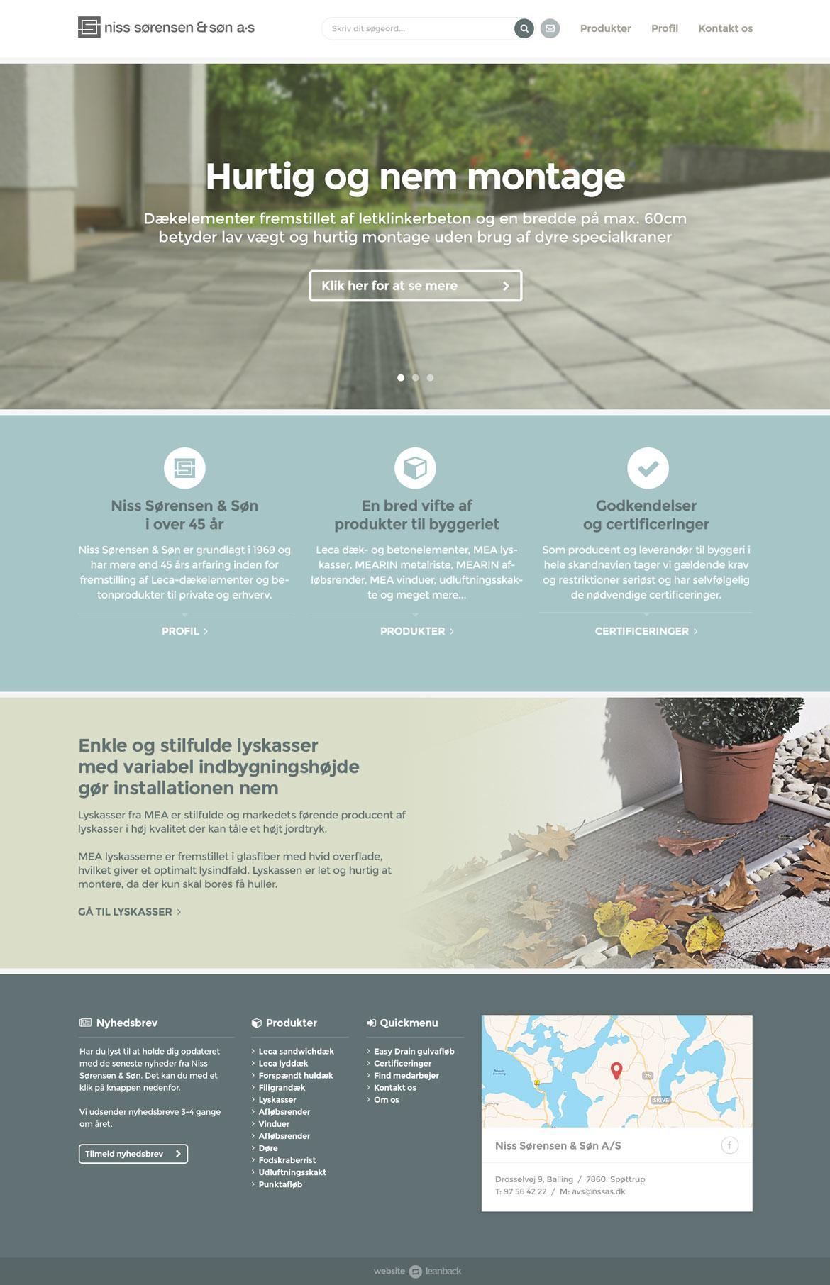 Billede der viser design af forsiden på Niss Sørensen & Søns hjemmeside