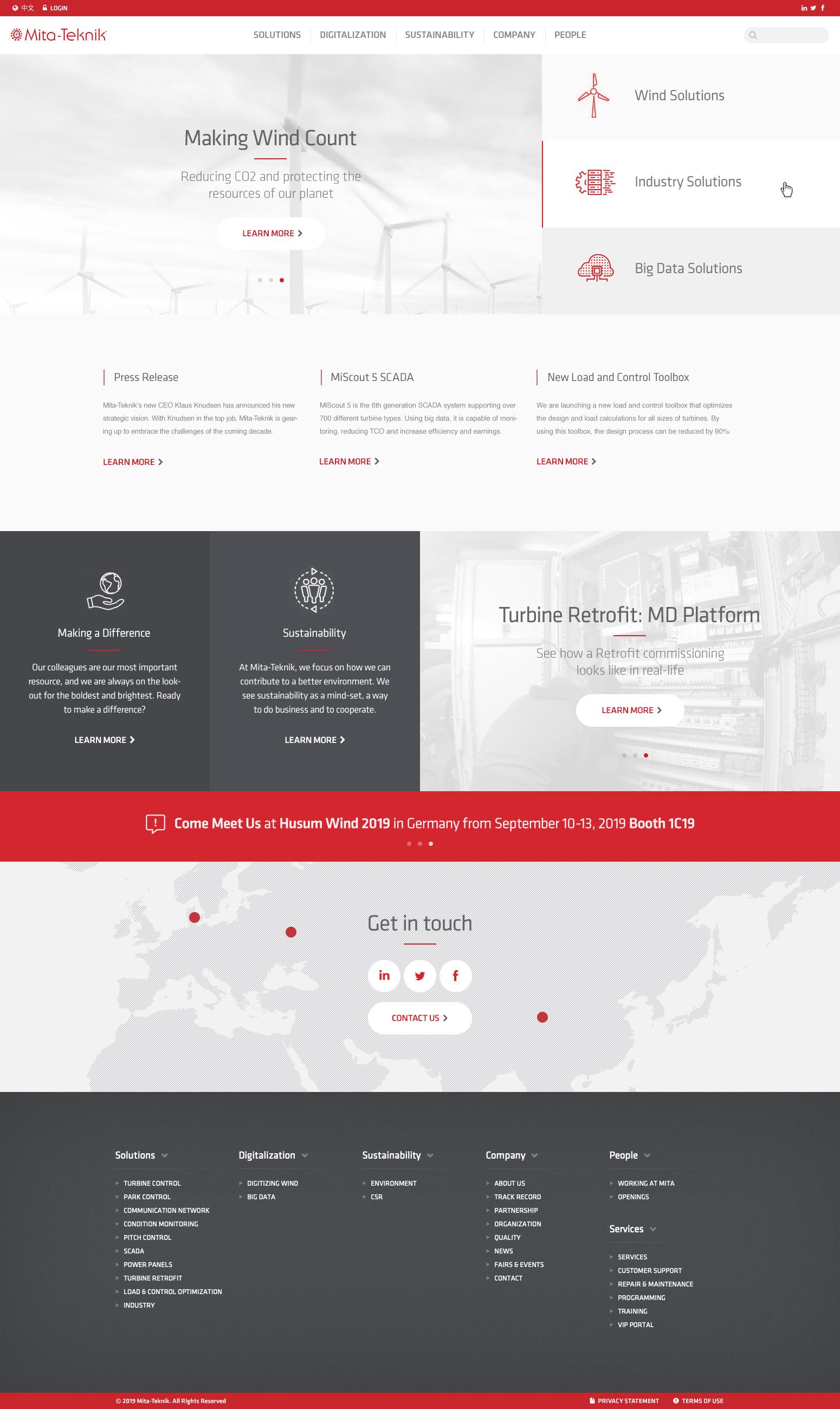 Billede der viser design på forsiden af MITA Tekniks hjemmeside