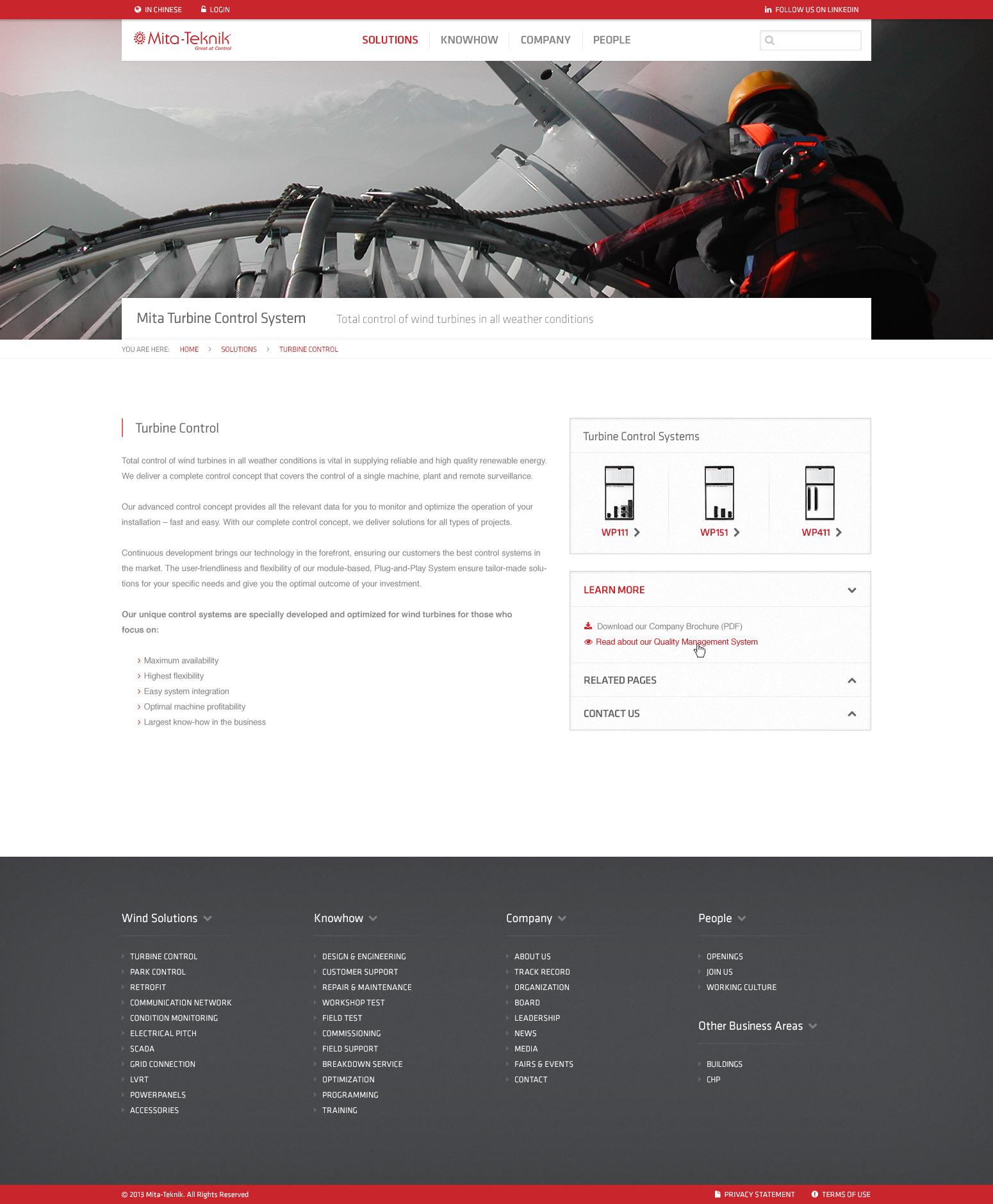 Billede der viser design af en underside på MITA Tekniks hjemmeside
