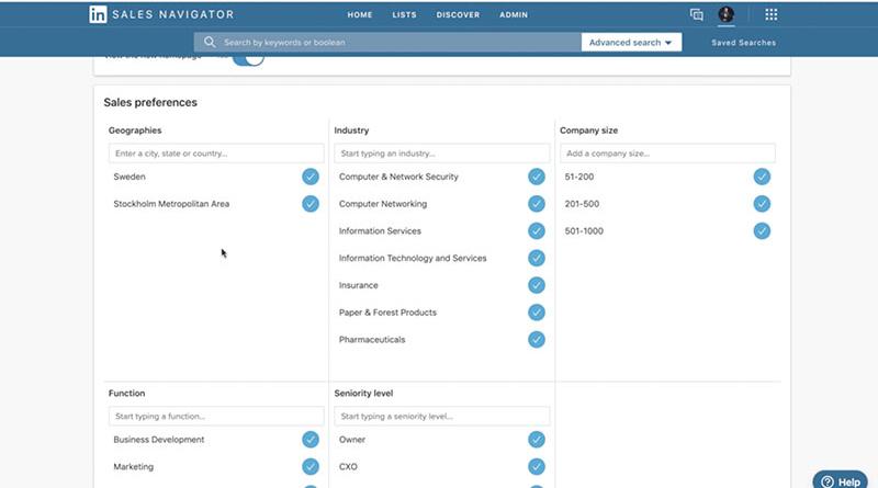 Linkedin sales navigator - målgruppsinställningar
