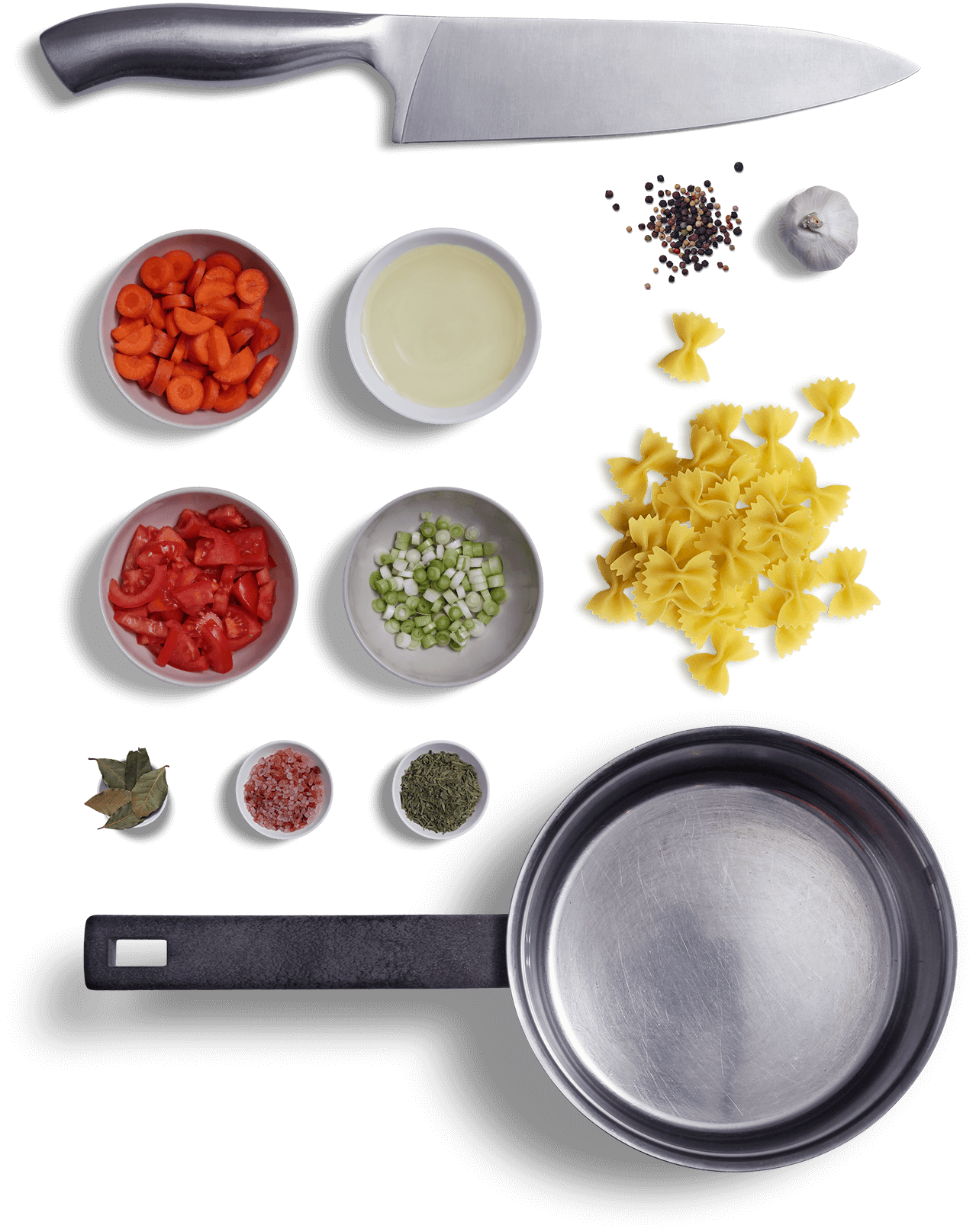 Arrangement of food ingredients for bowtie pasta soup