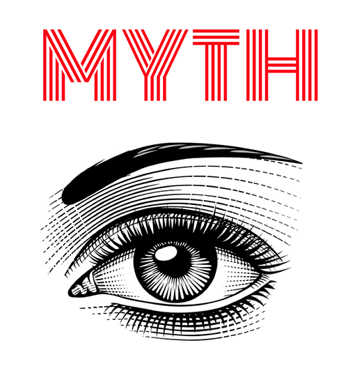 """An eye with an eyebrow with the word """"Myth"""" above it"""
