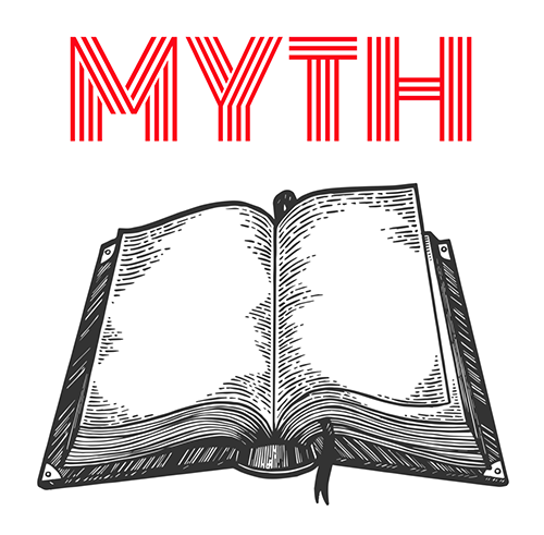 """An open book with the word """"Myth"""" above it"""