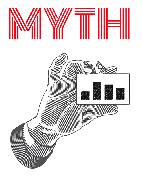 """A hand holding a small card with a simple bar chart and the word """"Myth"""" above it"""