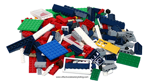 A jumbled pile of LEGO bricks with different colors and forms.
