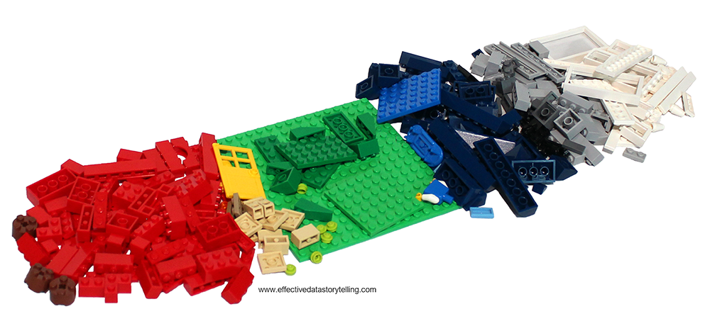 The same pile of LEGO bricks has been organized into smaller piles by color (brown, red, yellow, green, blue, black, gray, white)..