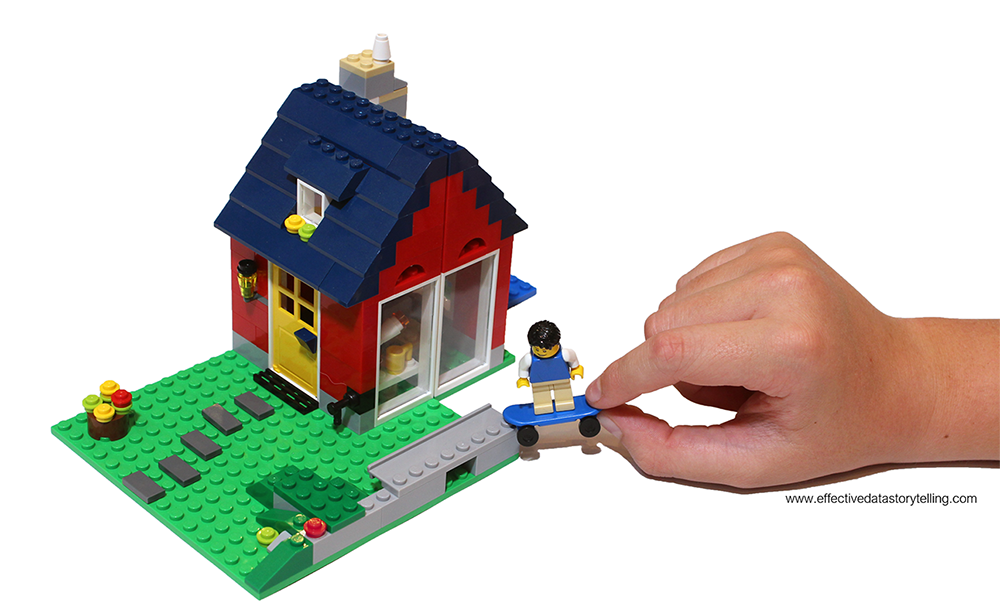 A fully constructed LEGO house with a boy's hand playing with a LEGO skater minifigure.