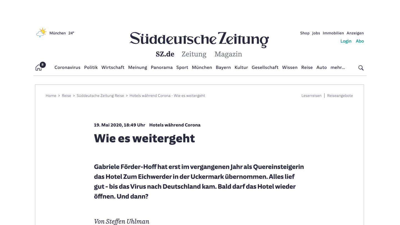 Screenshot des Artikels aus der Süddeutschen Zeitung