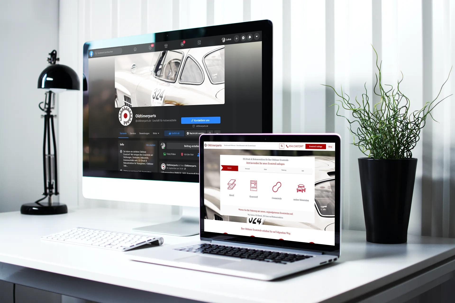 iMac und MacBook zeigen Ergebnisse der Zusammenarbeit mit Oldtimerparts