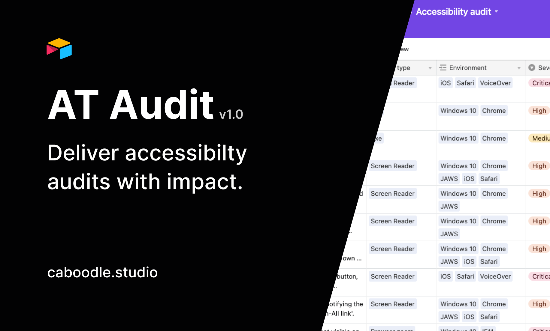 A preview image showing Airtable accessibility audit.