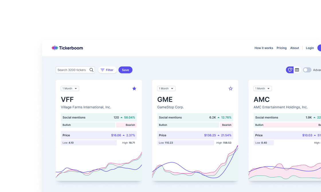 Investment dashboard product design screenshot.