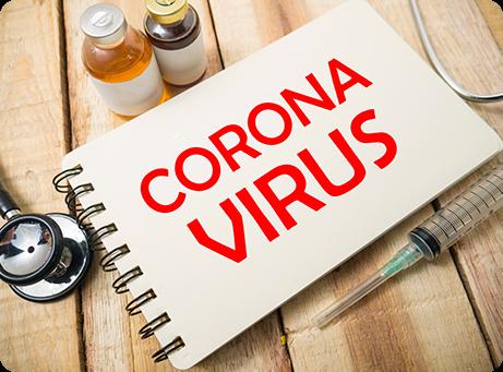 Coronavirus written on a notebook