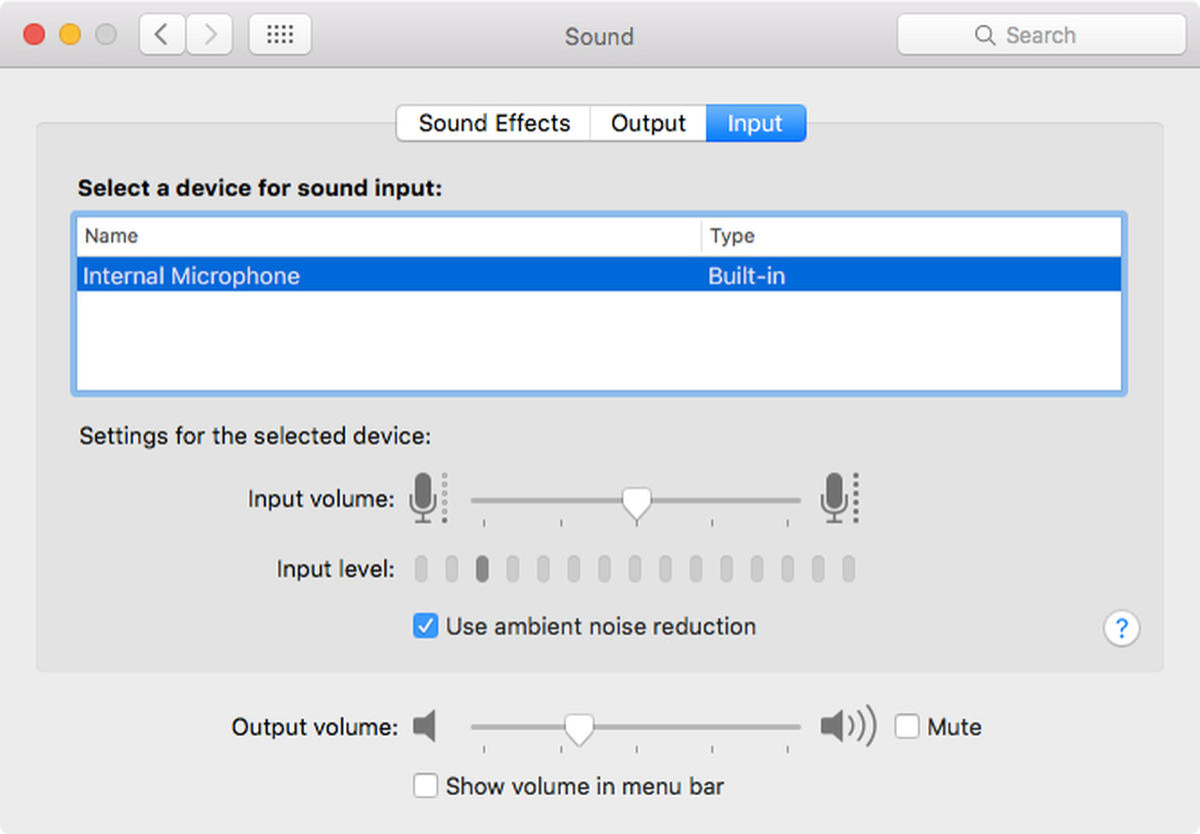 Mac OS Audio settings