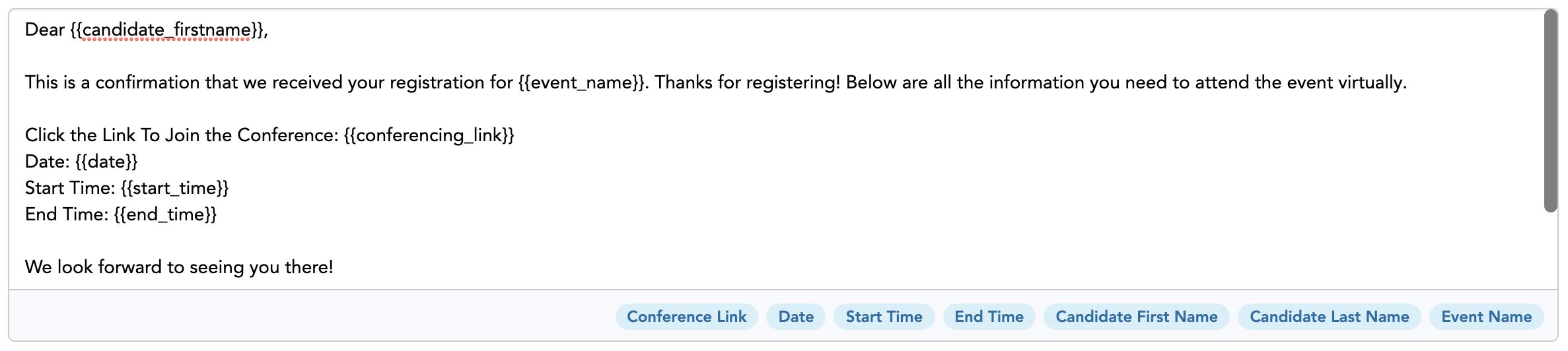 Flo Recruit default virtual event confirmation email emplate