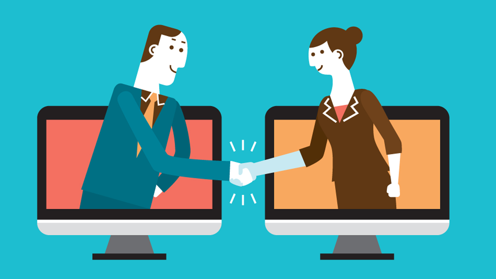 Man coming out of computer shaking hands with woman coming out of computer