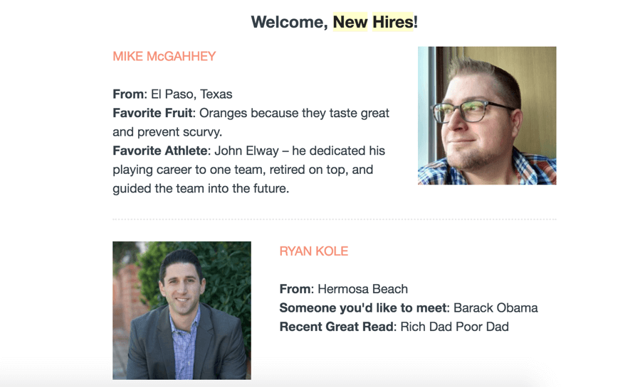 New hire descrptions