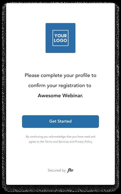 Flo Recruit virtual event registration screen