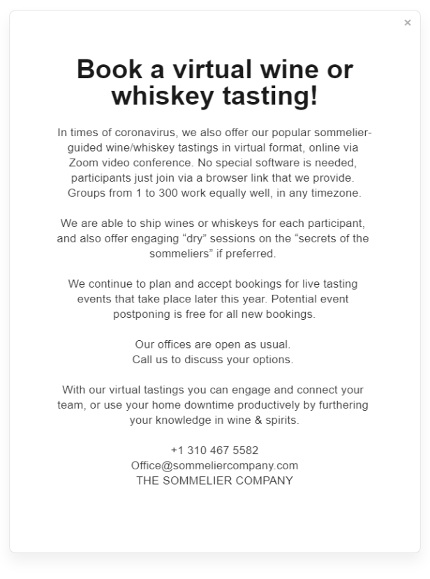 The Sommelier Company wine tasting notice