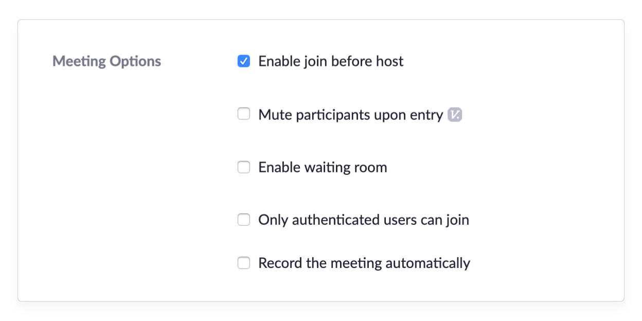 Enable join before host option in Zoom settings