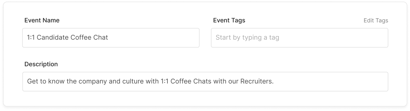 Setting event details in Flo Recruit