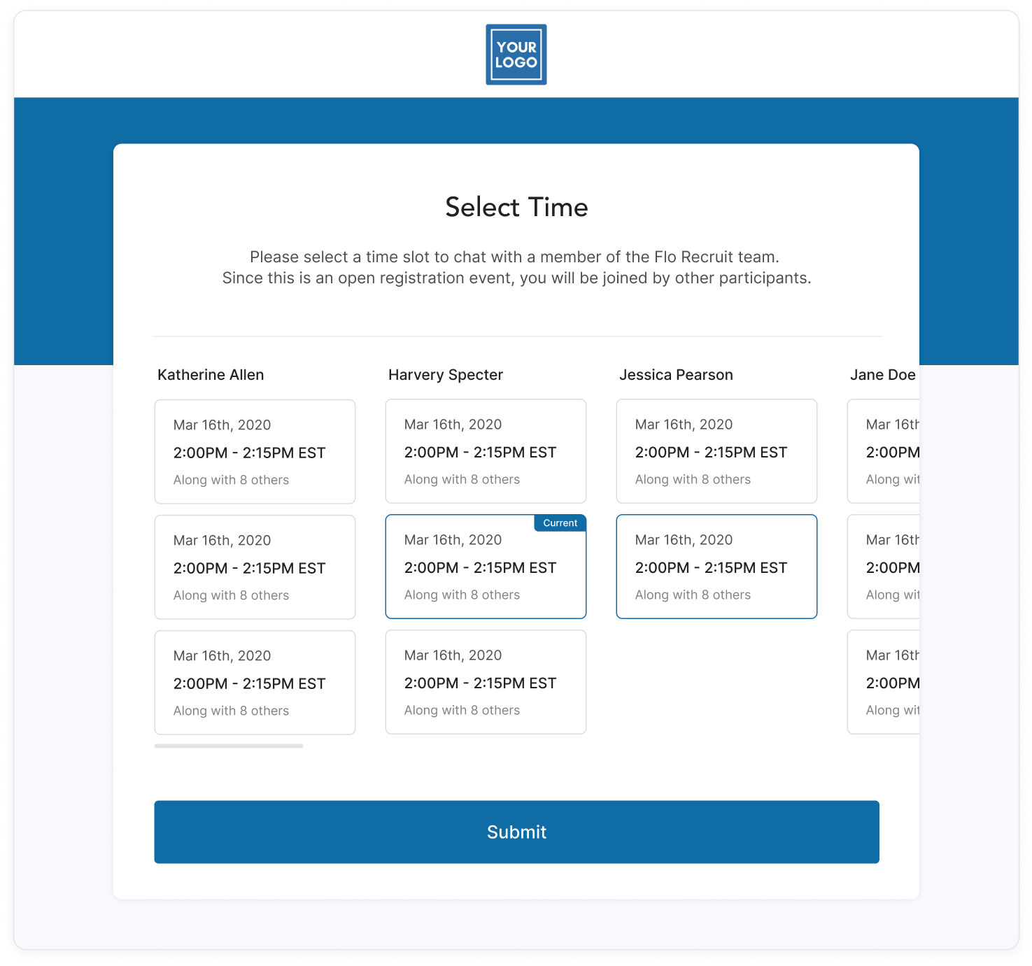 Candidate timeslot registration screen
