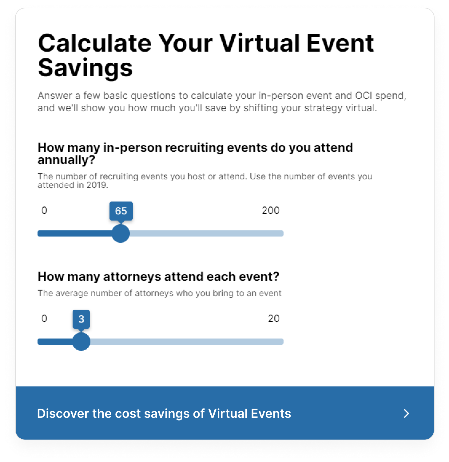Flo Recruit Virtual Event savings calculator