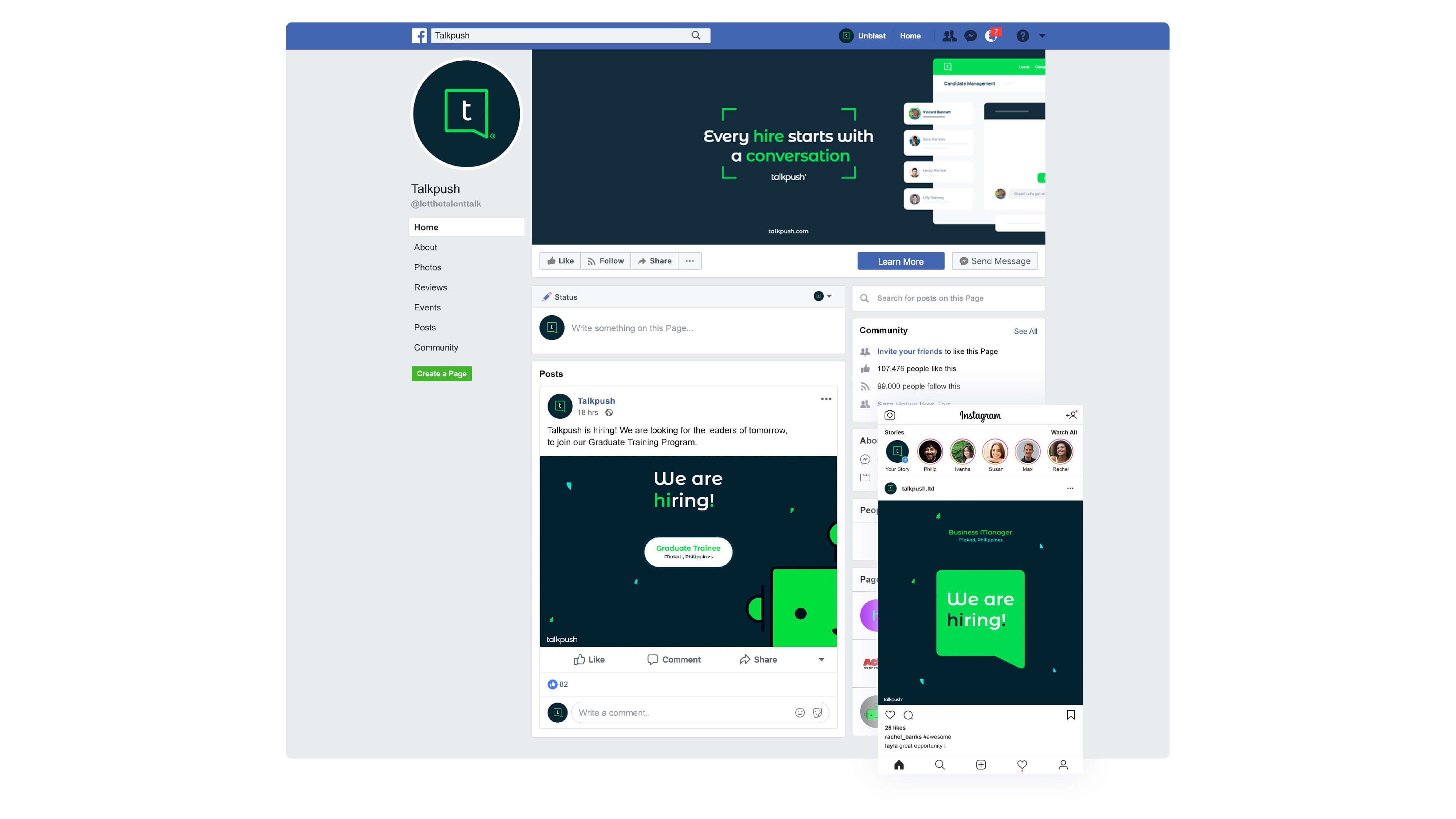 Talkpush Facebook page