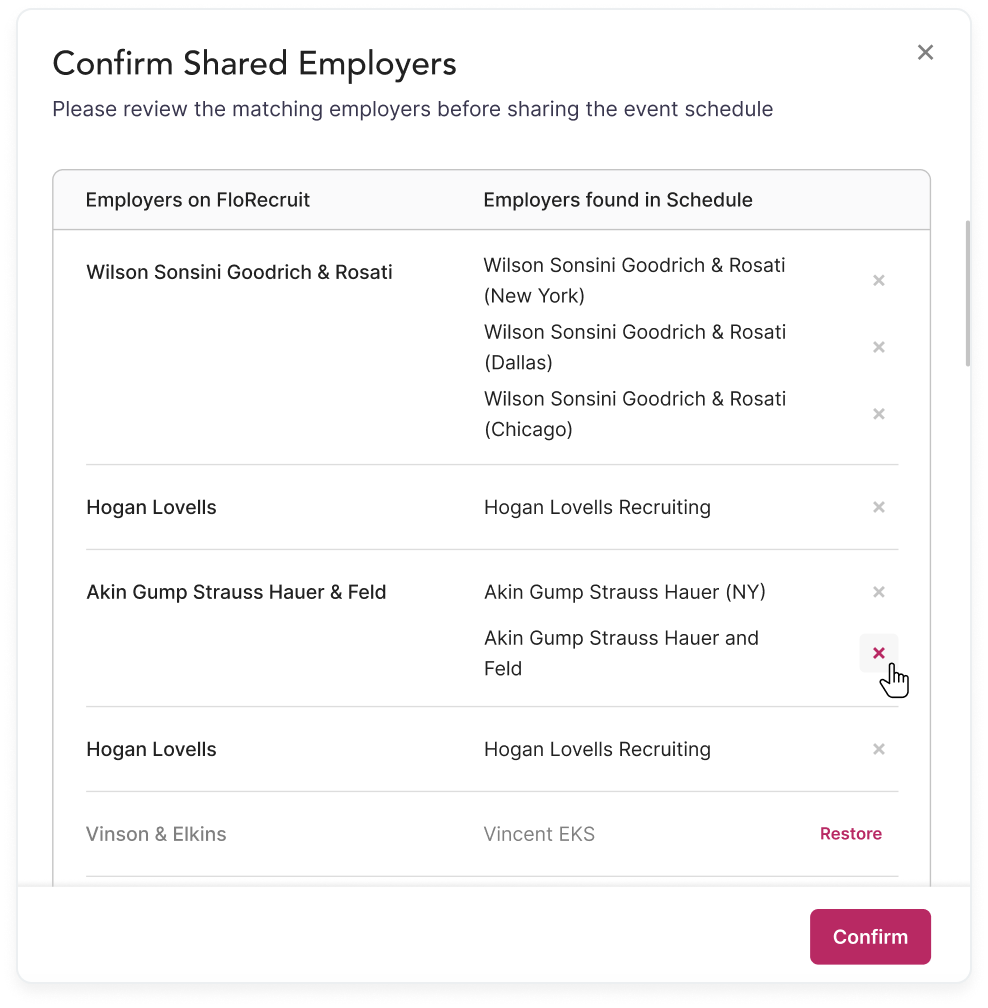 Confirming shared employers on Flo Recruit
