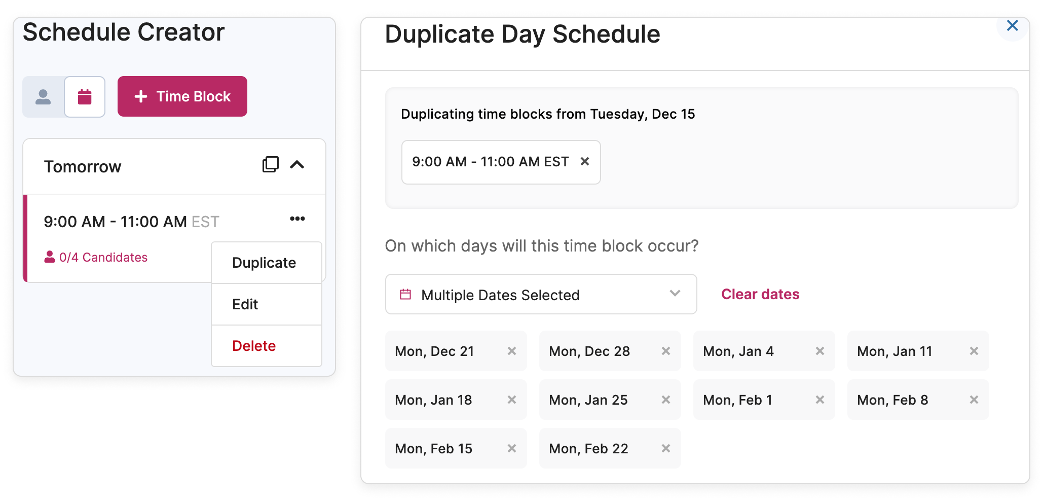 Duplicate, edit, or delete time blocks on the schedule page